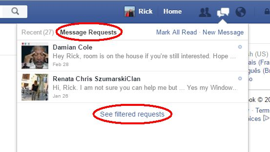 facebook message requests filtered